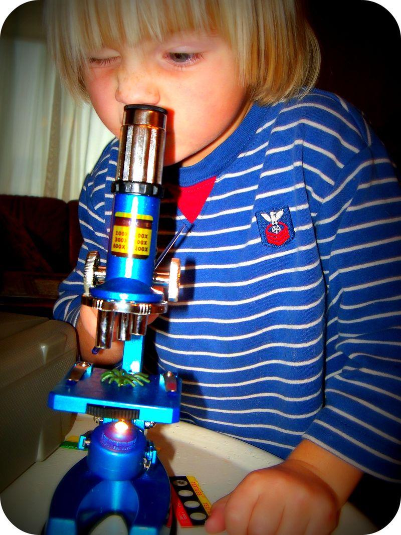 Gus at microscope